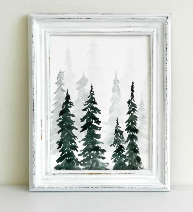 Watercolor Pine Trees Painting Tutorial