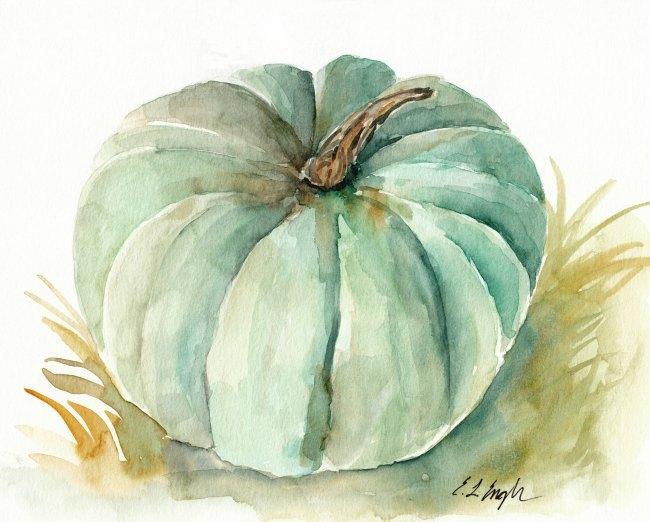 green pumpkin watercolor painting