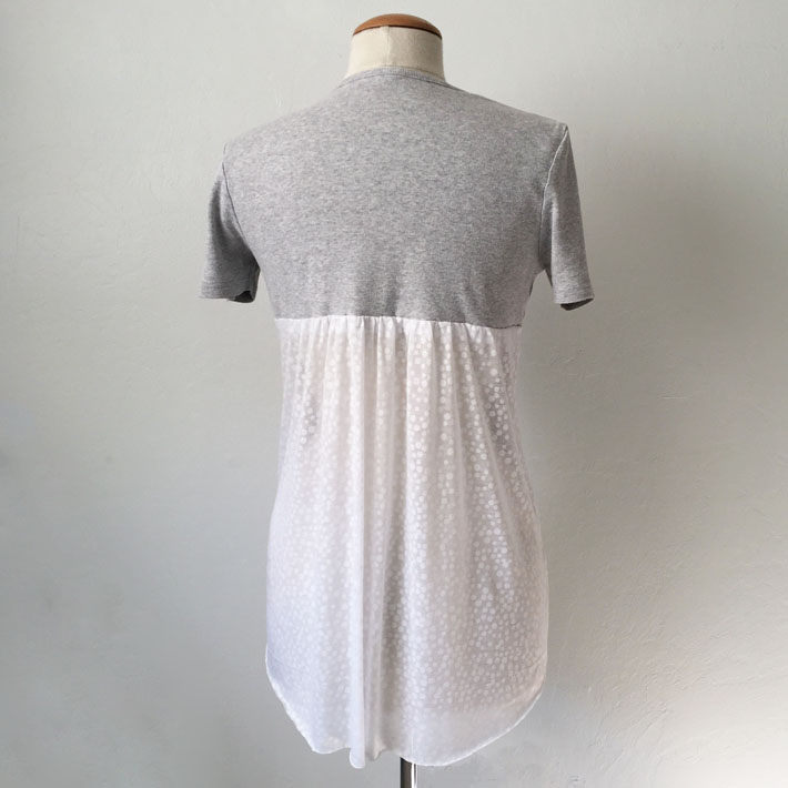 grey t-shirt with sheer back panel