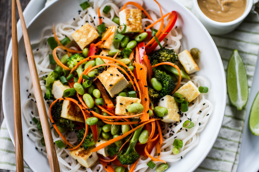 Healthy noodle bowl with green onion