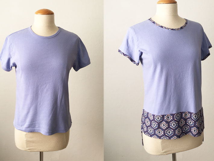 purple tee before and after refashion