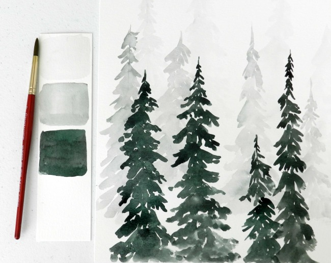 watercolor pine tree forest