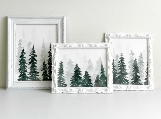 Learn to paint watercolor pine trees and make a stunning wintery forest scene