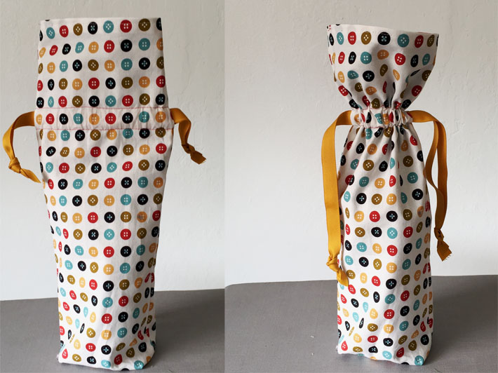wine bottle fabric bag with drawstring