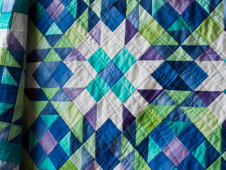 Color Crystals Quilt Close Up