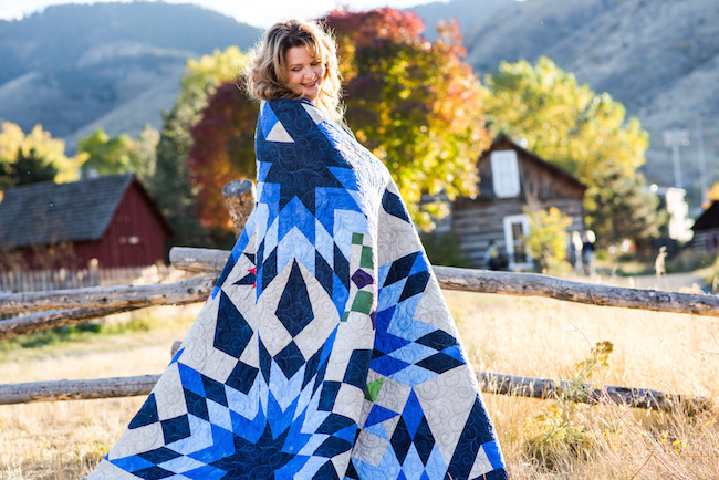 Nancy McNally and her Blazing Star Quilt