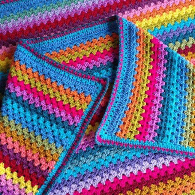 Granny stripe crochet pattern lap blanket