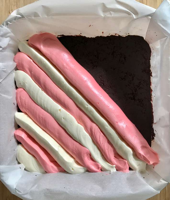 Stripes of Red and White Peppermint Cheesecake Batter