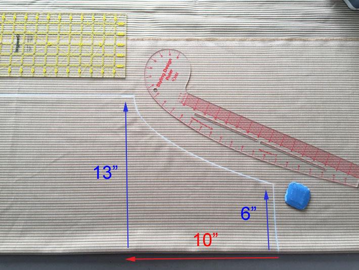 Mark apron shape on fabric