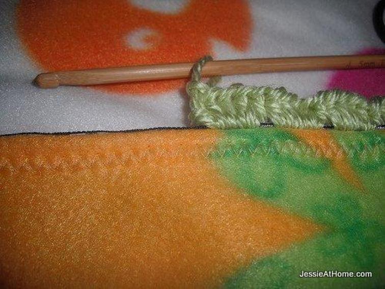 fleece blanket with crochet edging