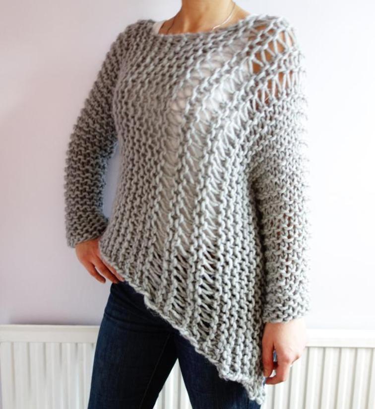 Funky Bulky Asymmetrical Sweater Knitting Pattern