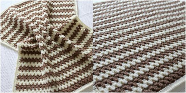 Granny stripe crochet baby blanket