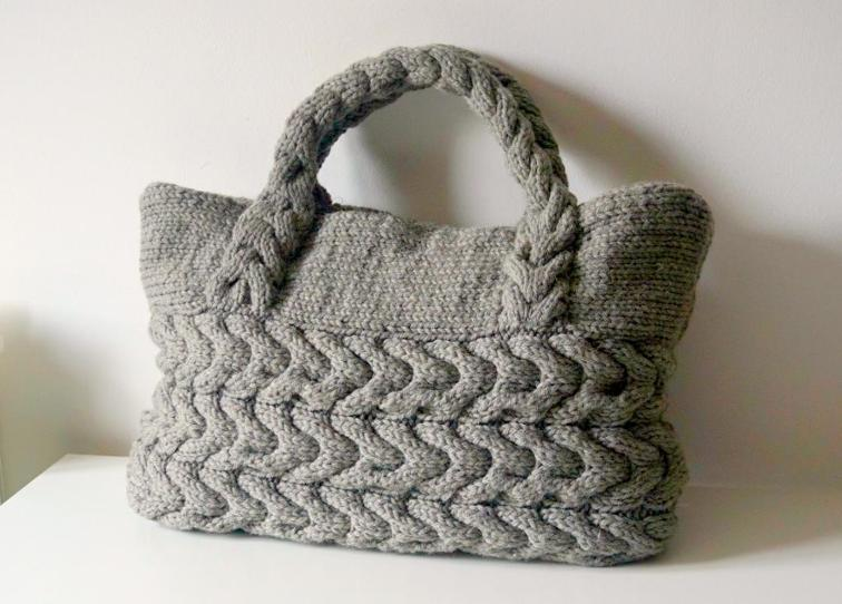 Grey Cable Tote Bag Knitting Pattern
