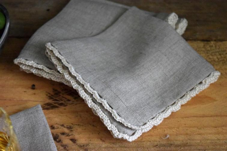 linen cocktail napkins with crochet trim