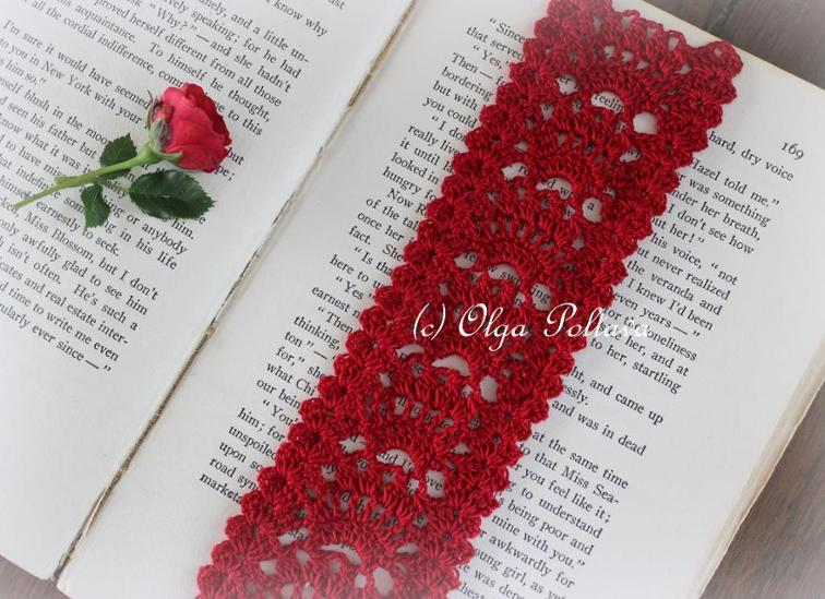 red lace bookmark crochet pattern