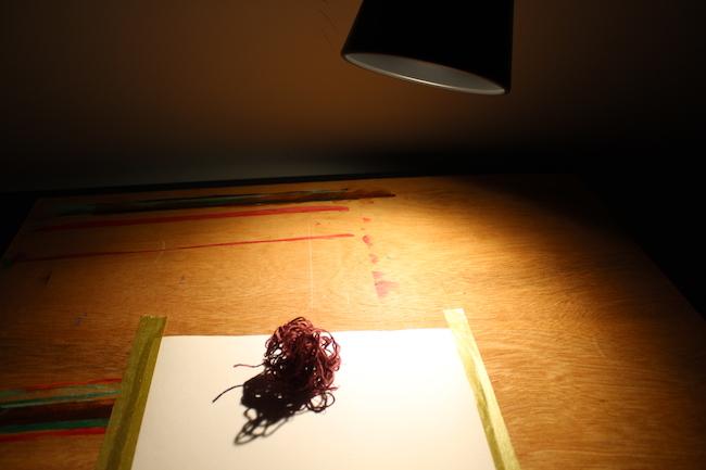 Ball of thread lit