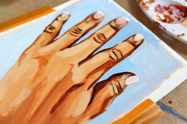 painting highlights on hands in acrylic