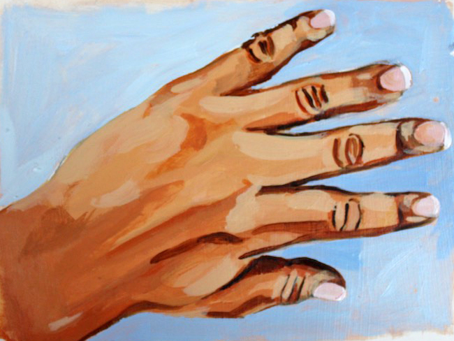Finished acrylic of painting hands