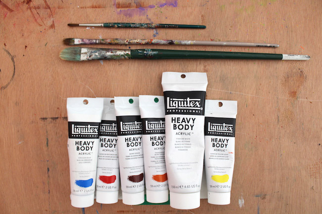 supplies for painting in hands