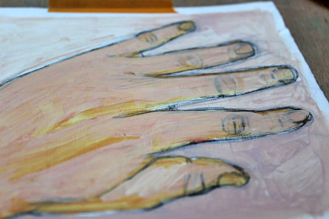 Second layer of painting hands