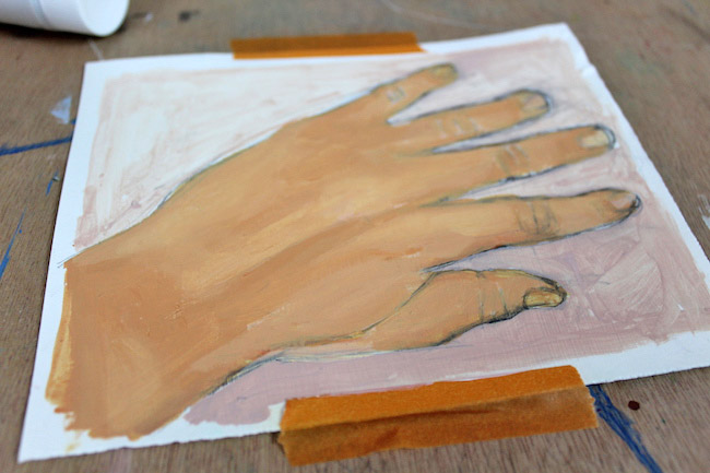 third layer of painting hands detail