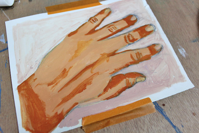 painting shadows on hands