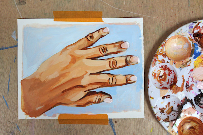 painting hands finish in acrylic