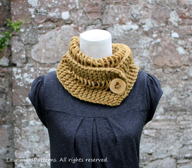 Dijon Chunky Lace Button Scarf Knitting Pattern