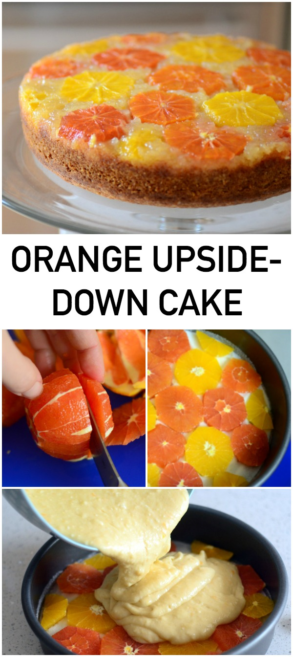 This orange upside-down cake is a delicious twist on the classic pineapple version!