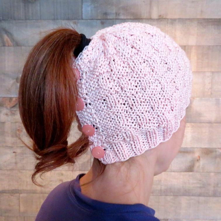 Basketweave Ponytail Hat Knitting Pattern