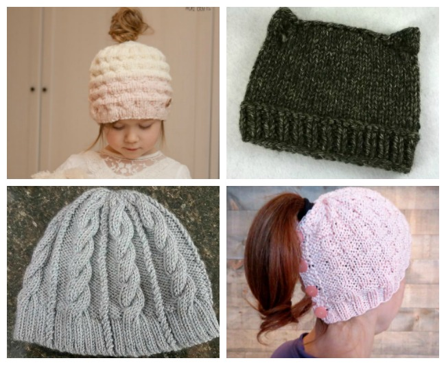 Ponytail Hat Knitting Patterns