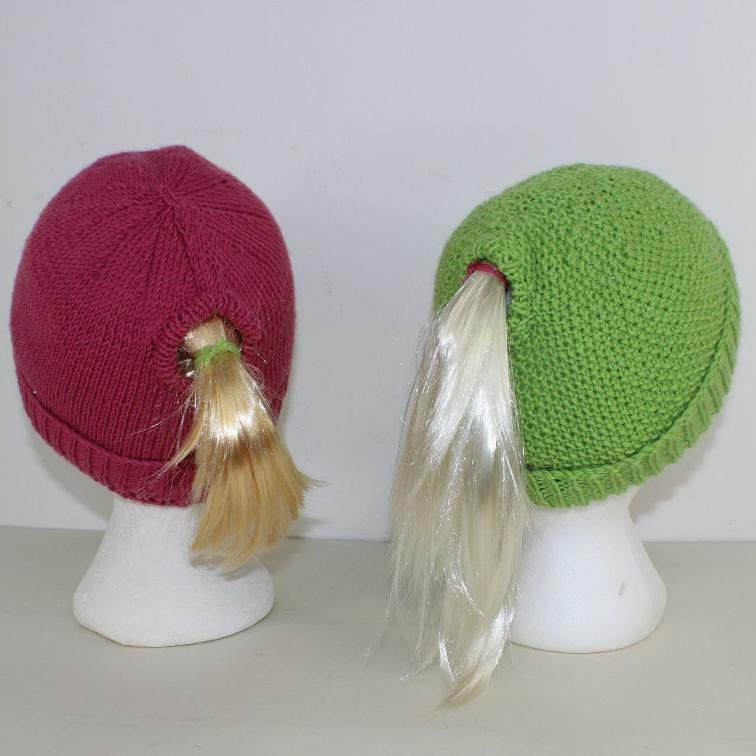 Ponytail Beanie Hats Knitting Pattern