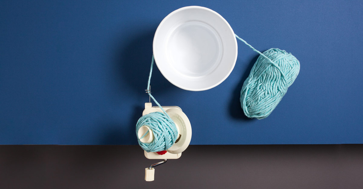 #CraftSavvy Tip No. 10: When winding slippery yarns, add another point of tension between the swift and the ballwinder. It'll keep your ball tight and stable!