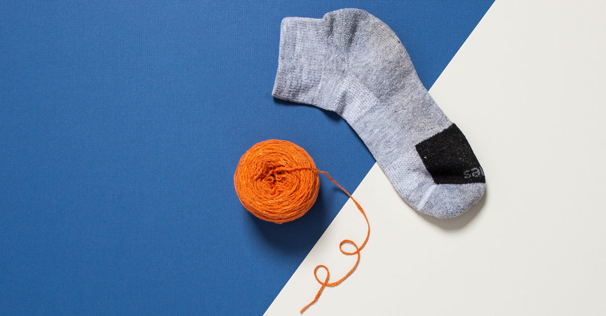 #CraftSavvy Tip No. 11: Did the laundry eat one of your socks? Put your yarn inside the remaining sock to keep center-pull balls nice and tidy in any bag.