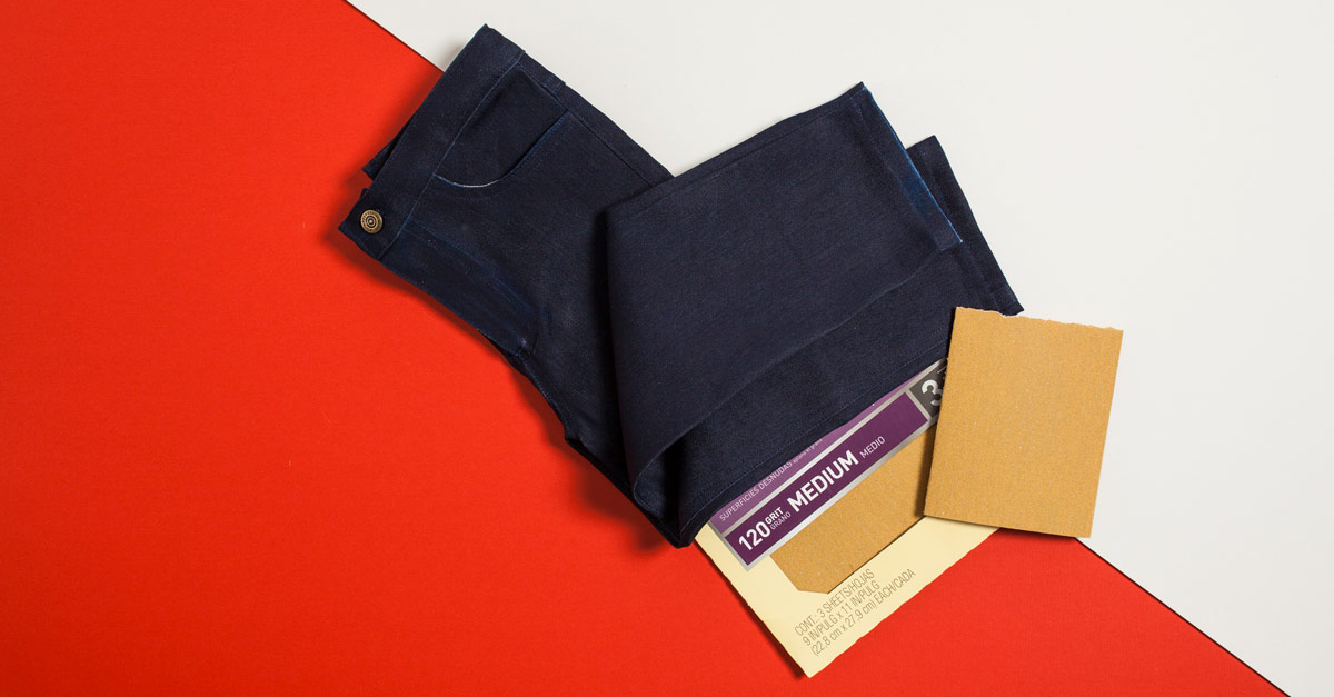 #CraftSavvy Tip No. 1: Tip No. 1: Give your freshly hemmed jeans a worn appearance by rubbing 120-grit sandpaper along the right-side hem.