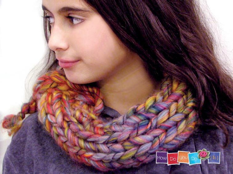 Chunky Yarn Cowl Scarf Knitting Pattern