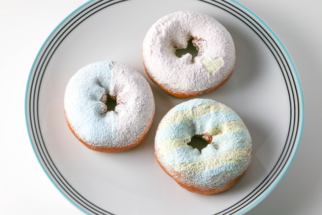 Donuts Decorated with Colored Powdered Sugars