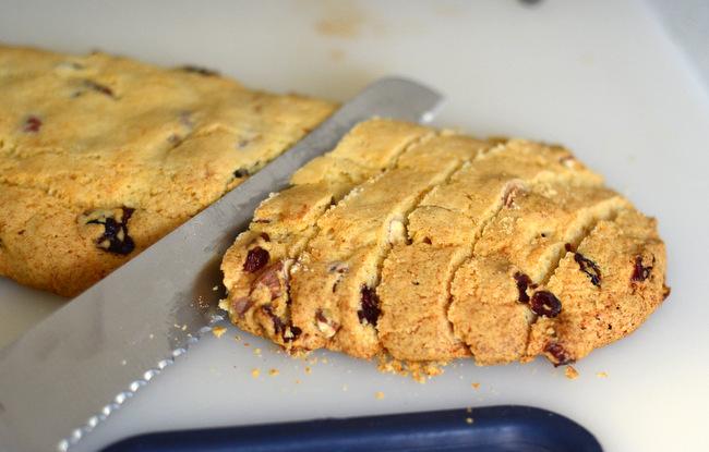 Cutting Biscotti Cookies