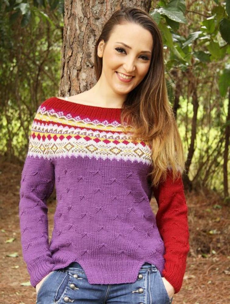 Dair Isle Yoke Pullover Knitting Pattern