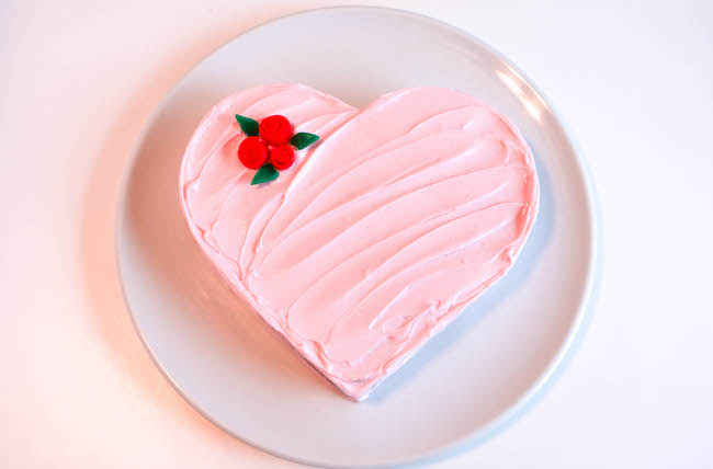 Easy Heart Cake with Candy Roses
