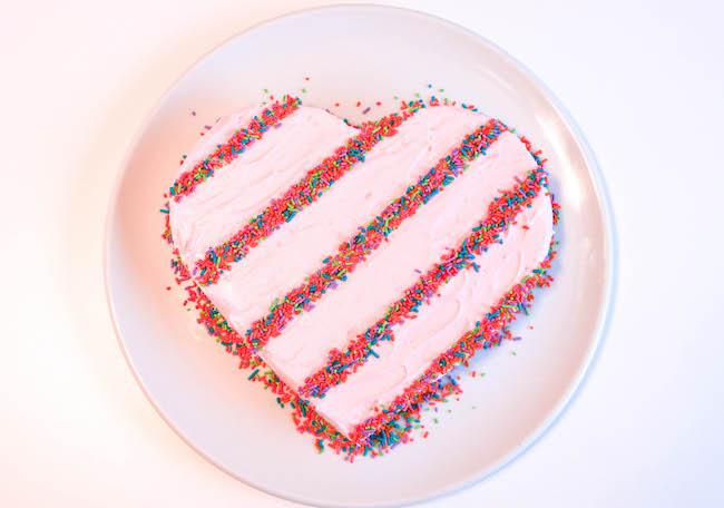 Sprinkle Stripe Heart Cake