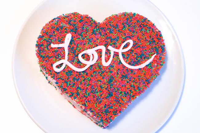 Sprinkle Coated Heart Cake