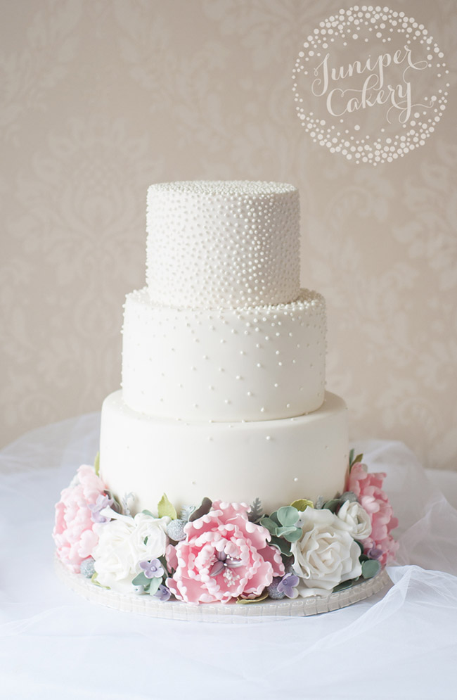Floral crown wedding cake by Juniper Cakery