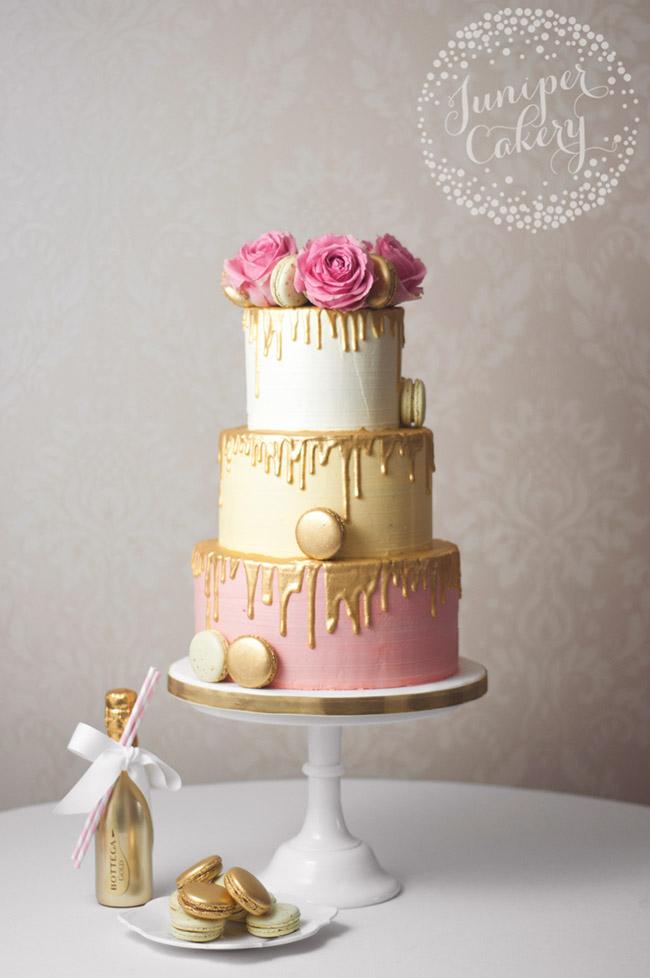 Gold drip pink wedding cake by Juniper Cakery