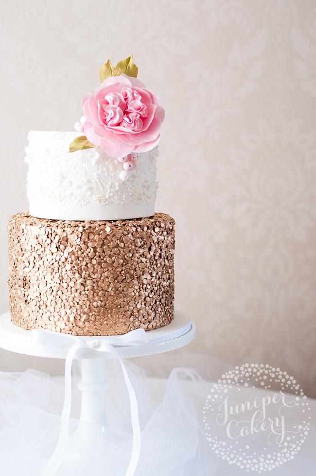 Gold sequin wedding cake by Juniper Cakery