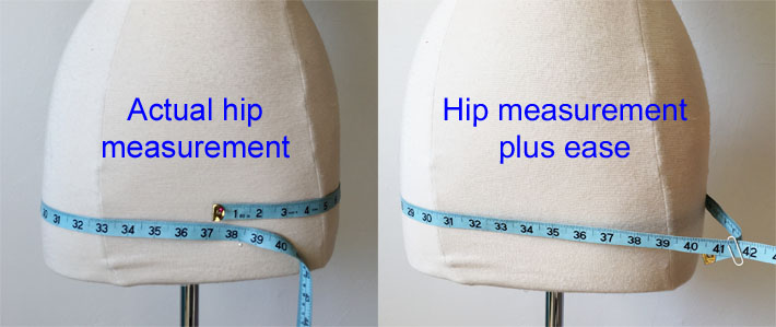 hip measure plus ease