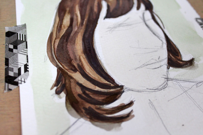 Finished painting of watercolor hair, detail shot