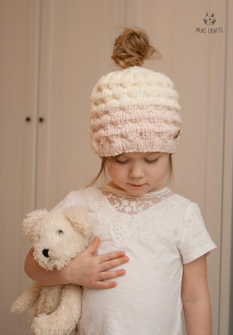 Ombre Bun Hat Kaia Knitting Pattern