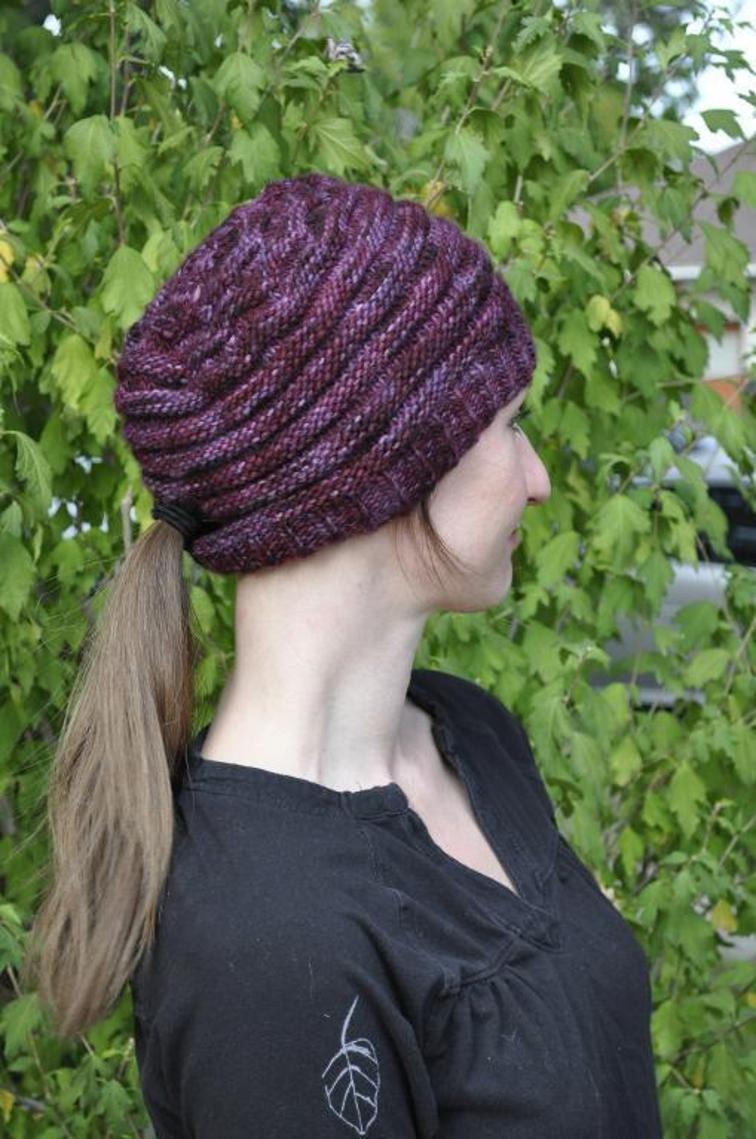 Latitude Ponytail Hat Knitting Pattern