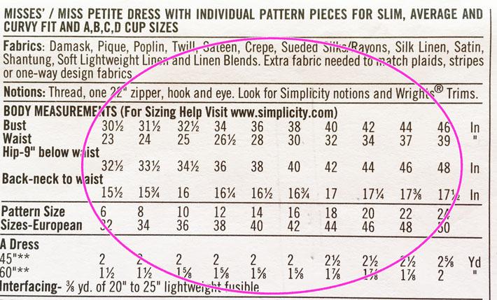 pattern envelope size chart